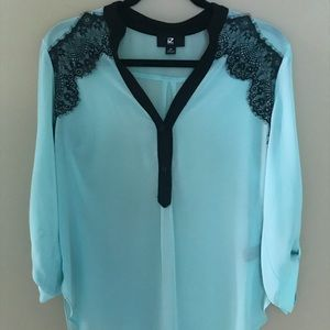 Mint and Black Blouse with Lace